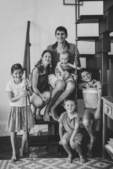 Portrait photos d'une famille nombreuse